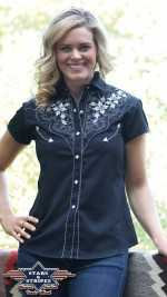 Country Kurzarm Bluse in schwarz mit Stickerei